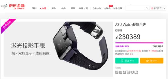 一数科技ASU Watch京东众筹收官 虚拟触控手表强势吸粉