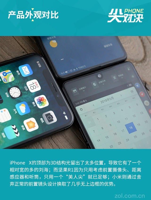 坚果R1/小米MIX 2S/苹果X横评:三种全面屏你买谁?