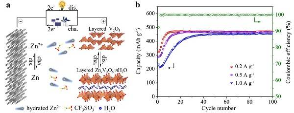 可充水系Zn-V2O5电池