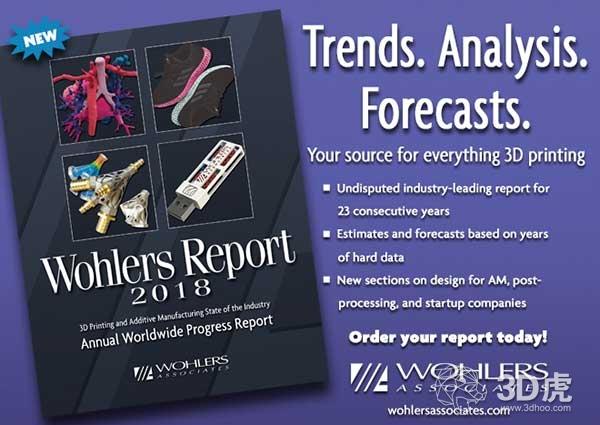 沃勒斯2018:3D打印市场增长21% 达73.36亿美元