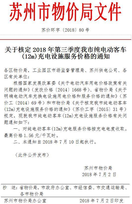 苏州发布充电服务费标准,电动汽车最高2.04元/千瓦时