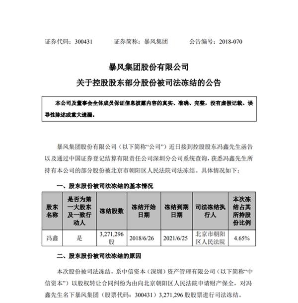 暴风CEO冯鑫所持部分股份被冻结