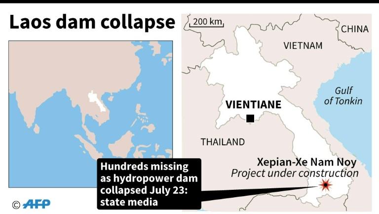 老挝南部大坝发生倒塌 已致20人死亡 上百人失踪