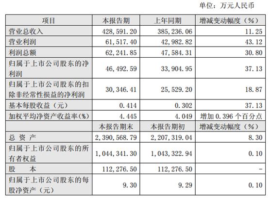 杉杉股份:上半年净利4.65亿元,同比增37.13%