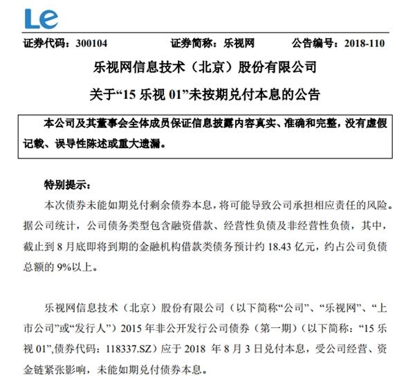 未能如期兑付债券本息:乐视网股价大跌近8%