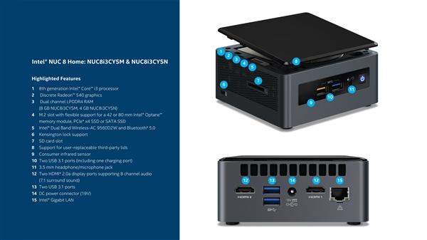 Intel发布NUC 8系家用迷你机:14nm i3-8121U配A卡