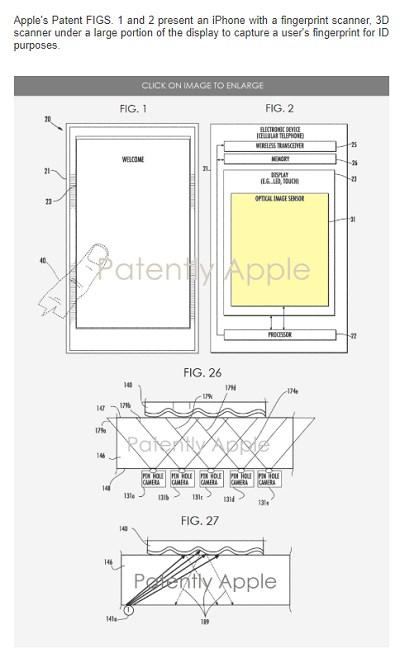 苹果又一个屏下指纹专利获揭示