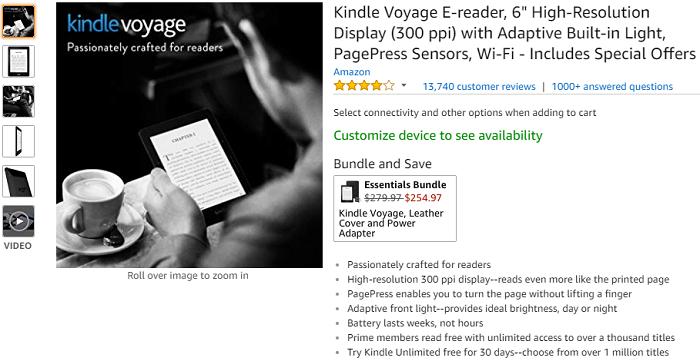 因定位尴尬!亚马逊停产Kindle Voyage阅读器