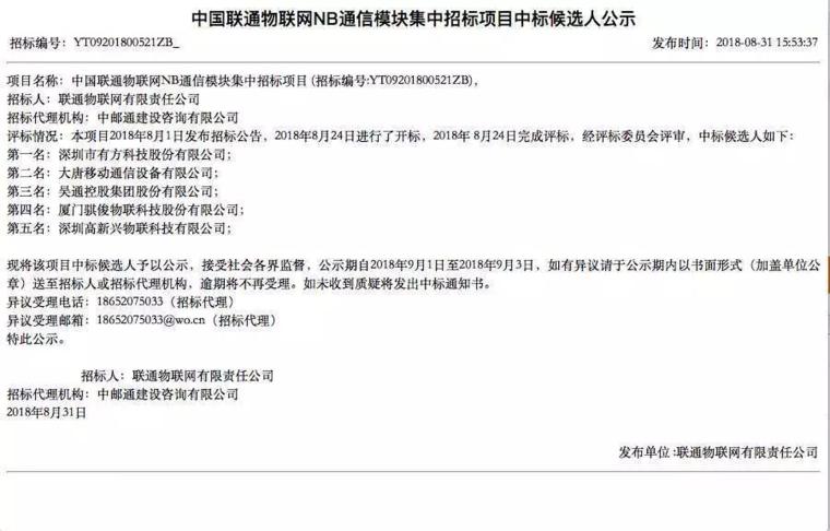 紫光展锐获中国联通NB-IoT通信模块项目第一大份 占比55%