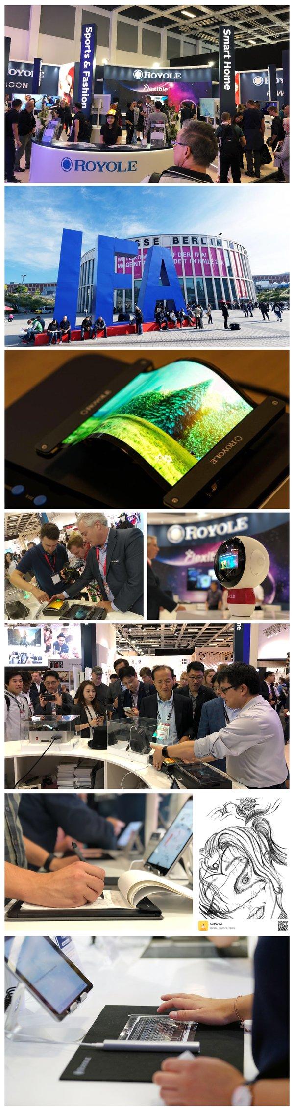 柔宇科技集中展出柔性屏时尚礼帽、柔性屏机器人等柔性产品