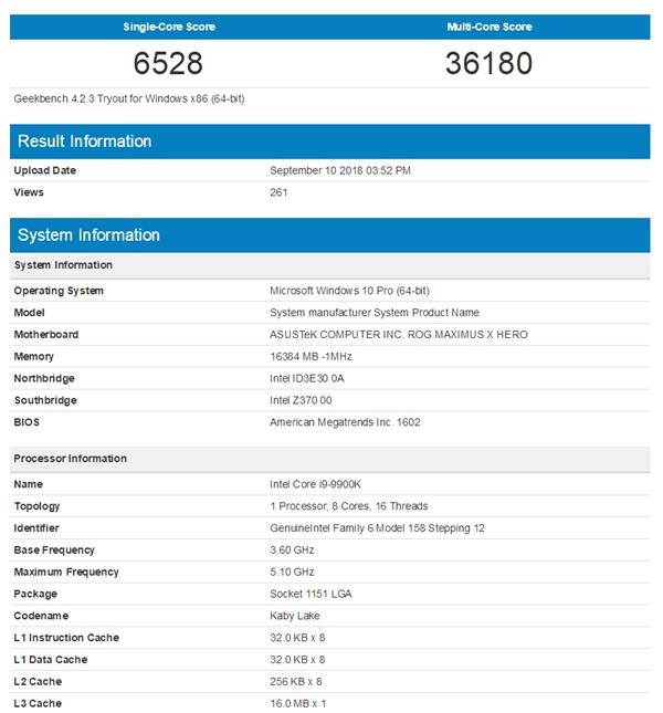 i9-9900K 3DMark跑分首曝:8核16线程击倒超频版锐龙7 2700X