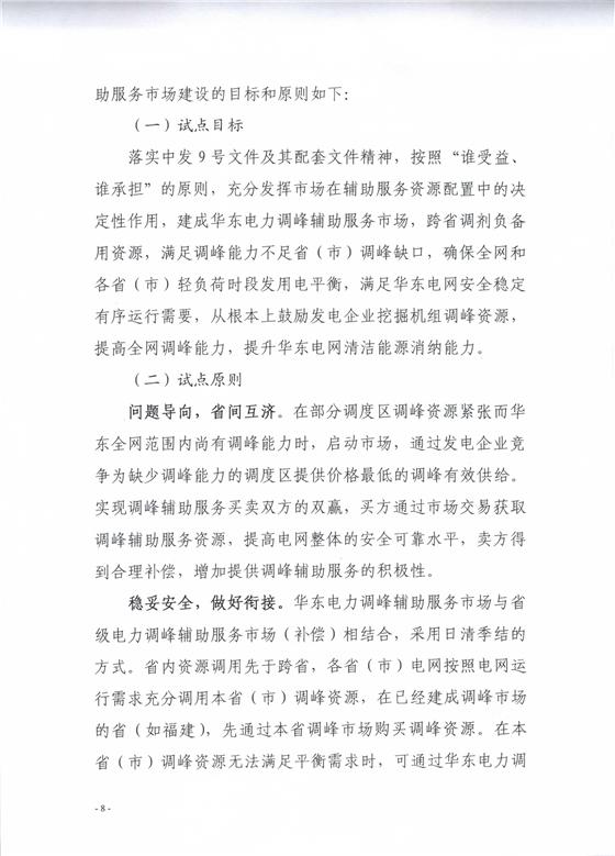 华东电力调峰辅助服务市场明年1月正式运行