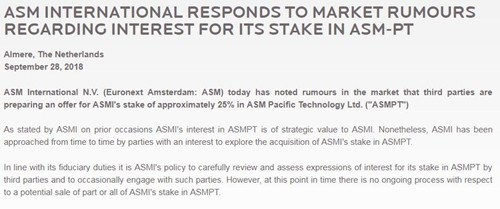 外媒:TCL考虑收购ASM太平洋25%股权,价值约10亿美元