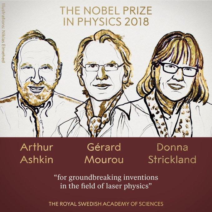 诺贝尔物理学奖揭晓 激光物理学领域专家获奖