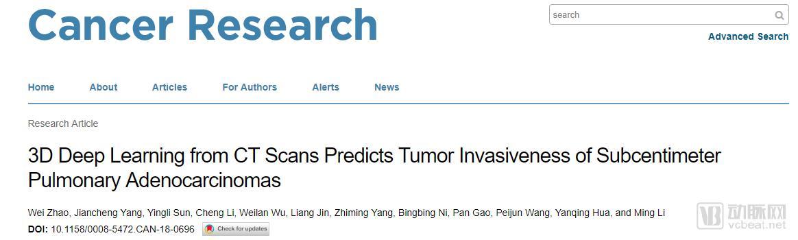 国内团队肿瘤学论文入选《Cancer Research》,3D卷积神经网络助力早期肿瘤浸润研究