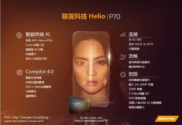 联发科Helio P70芯片发布:效能提升13%