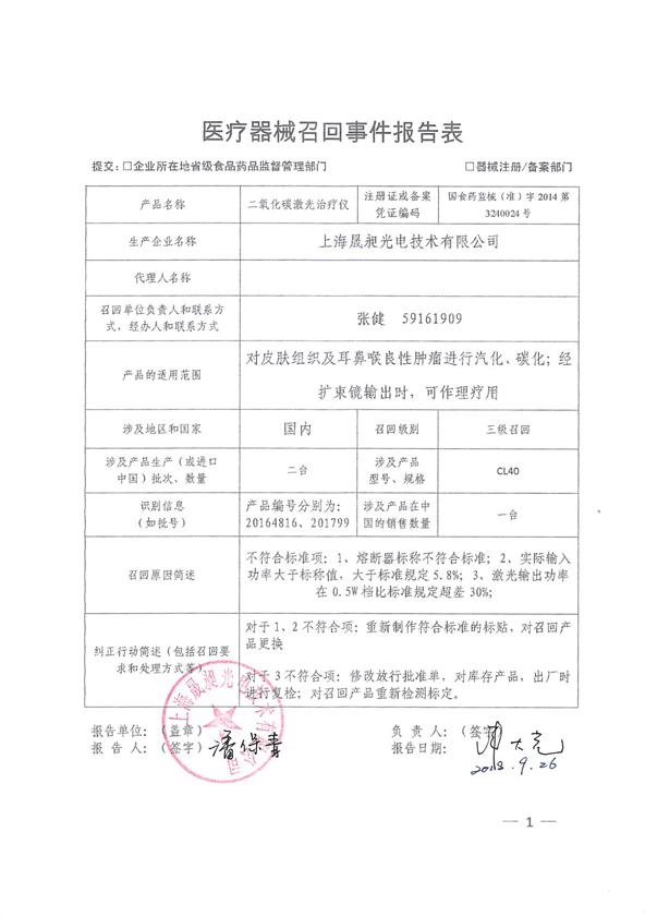 上海晟昶光电技术有限公司召回二氧化碳激光治疗仪