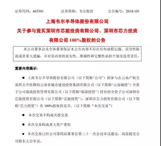 韦尔股份:向北京豪威及其子公司申请借款1.8亿美元