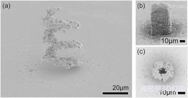 微米尺度的黄金3D打印,激光设备逐滴打印金属结构