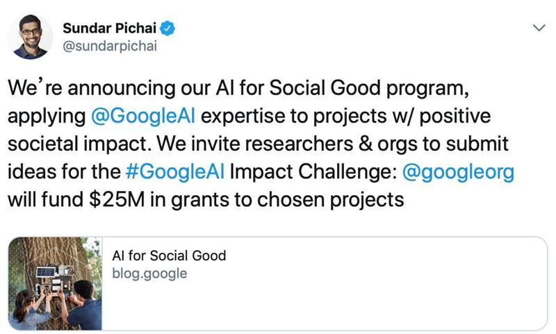 谷歌出钱出人 新计划要用AI助益社会
