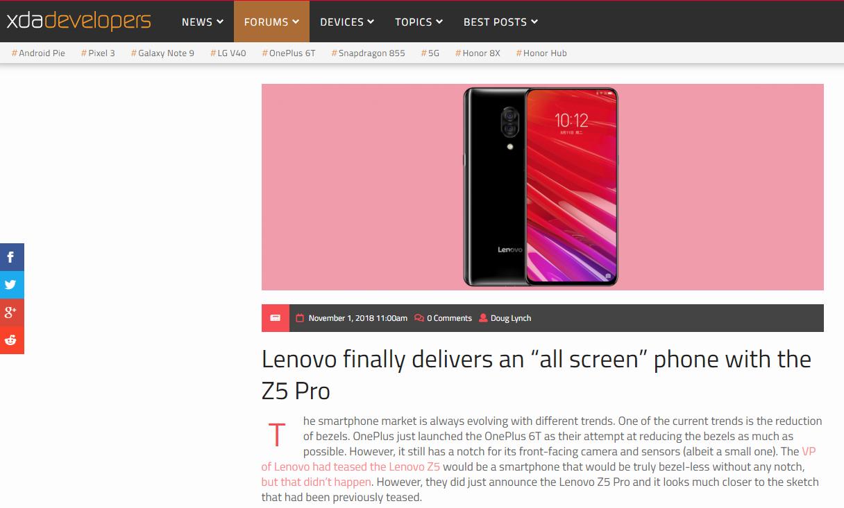 超95%屏占比引爆外媒 联想Z5Pro正式开启滑盖全面屏时代