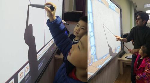光峰联手中育品格推出更护眼的激光互动大屏方案