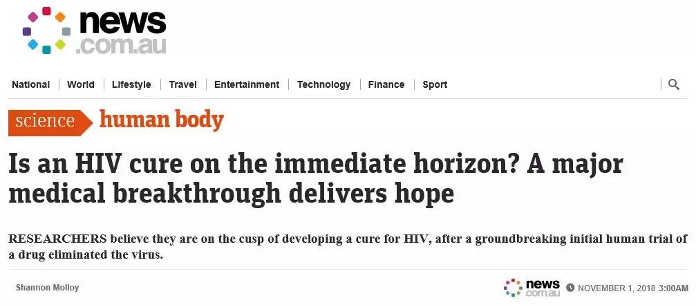 这种艾滋病新药声称能在4周内清除99%的HIV病毒