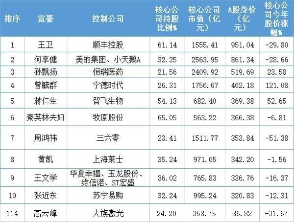 大族激光董事长高云峰上榜A股富豪TOP500
