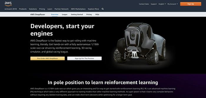 亚马逊推出自动驾驶四轮赛车DeepRacer