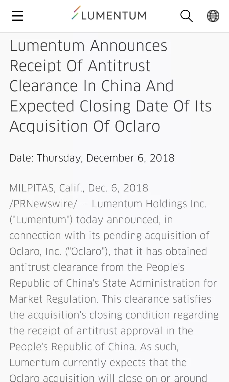 """光器件""""新""""巨头诞生!Lumentum和Oclaro并购案获中国批准"""