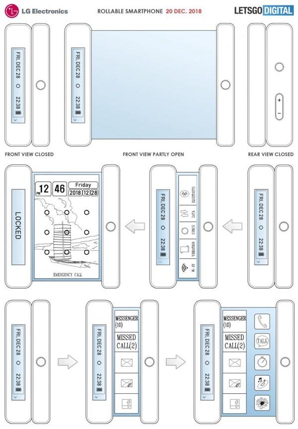 LG电子新专利曝光:可卷曲移动终端