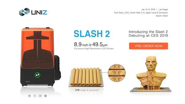 UNIZ的新型SLASH 2光固化3D打印机 Z轴打印速度达1200毫米/小时