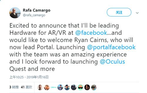 Facebook聘请谷歌AR/VR负责人Ryan Cairns