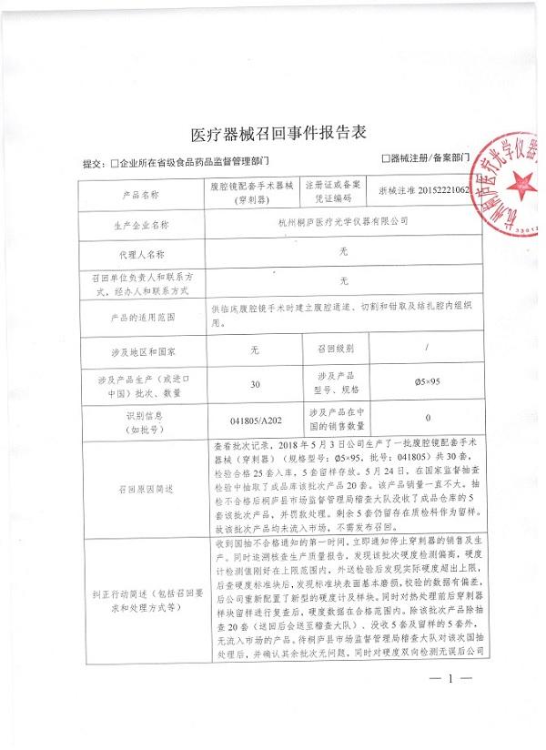 杭州桐庐医疗光学仪器有限公司召回腹腔镜配套手术器械(穿刺器)