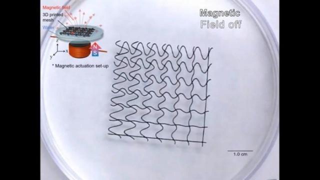 """3D打印磁性网格""""机器人""""可浮动、弯曲和按需抓取"""