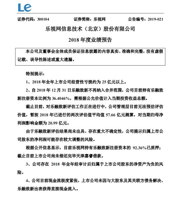 乐视网2018年业绩预期:亏损超25亿元