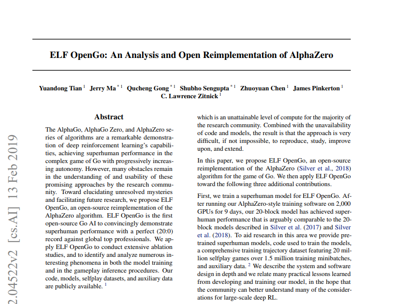Facebook首次开源超级围棋AI 复现AI高手AlphaZero