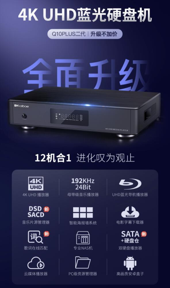 开博尔Q10PLUS二代 4K UHD蓝光硬盘机音乐海报墙3.0解析