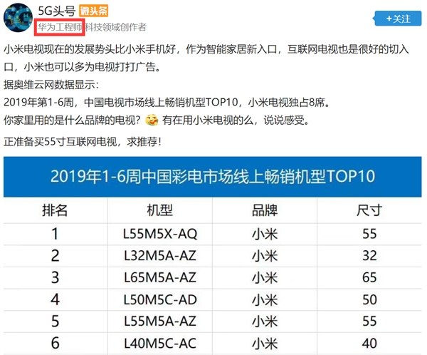 小米电视2019开年销量大爆发:华为员工竟来打Call?