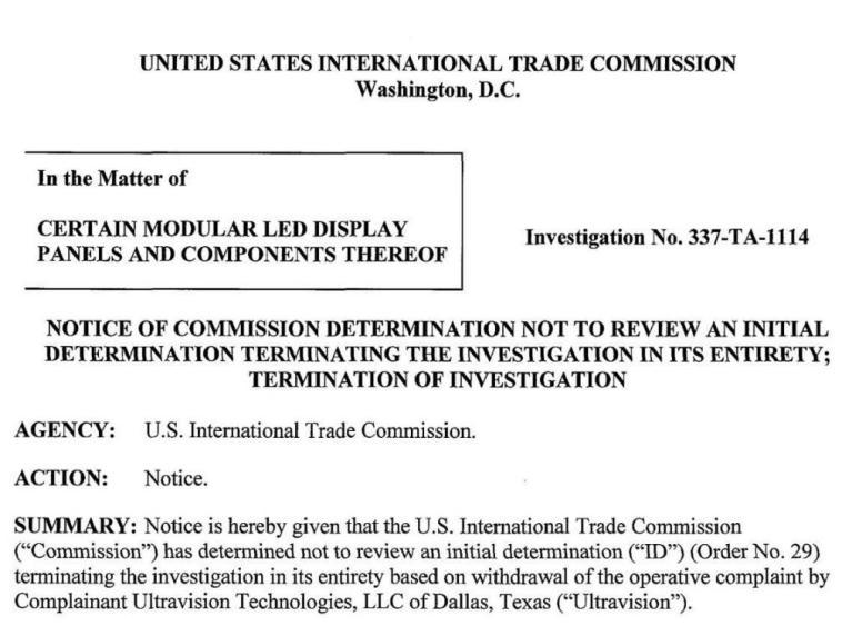 原告撤诉,美国ITC结束调查!三思赢得LED显示屏337案保卫战!