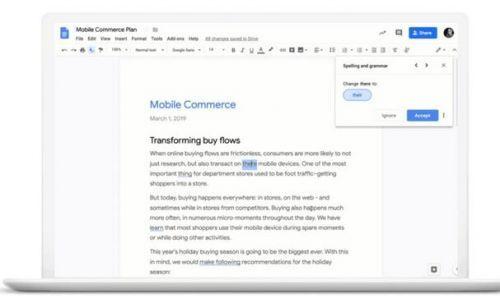 谷歌文档AI语法检查器面向G Suite用户推出