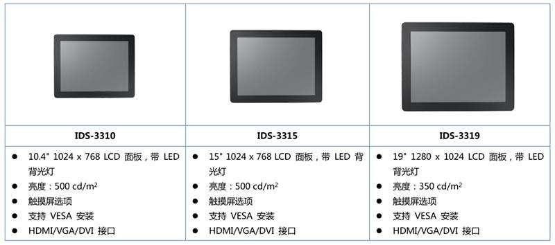 研华IDS-3300系列工业IP65触控显示器 为防水防尘应用保驾护航