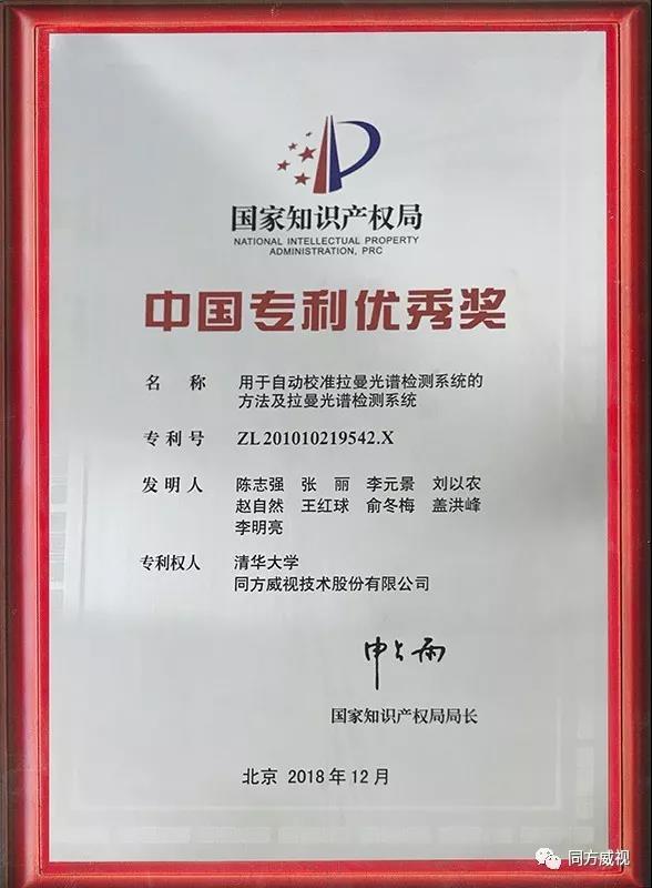 同方威视拉曼光谱发明专利获中国专利优秀奖