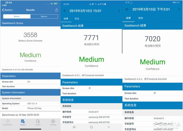 三星S10+、华为Mate20 Pro、苹果XS Max对比评测:简直是神仙打架