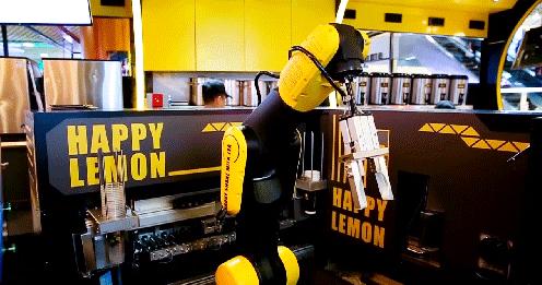 机器人90秒调奶茶   制茶、跳舞两不误
