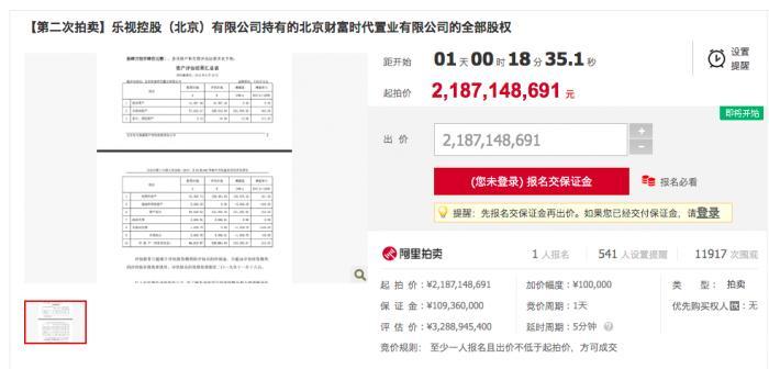 贾跃亭33亿资产有望出手,二次拍卖1人报名