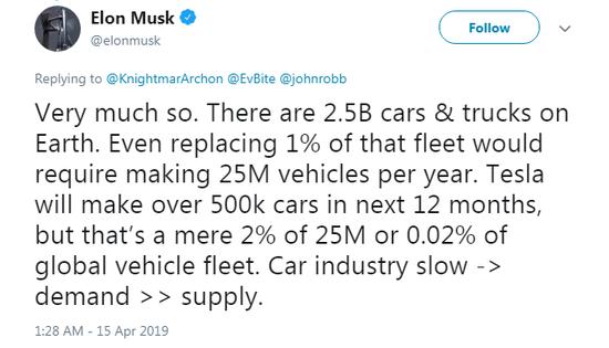 马斯克:未来12个月内生产超过50万电动汽车