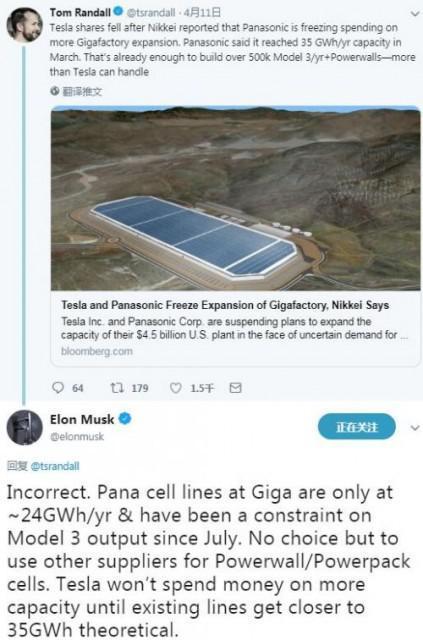 马斯克对松下电池生产线不满意 称其制约Model 3产量