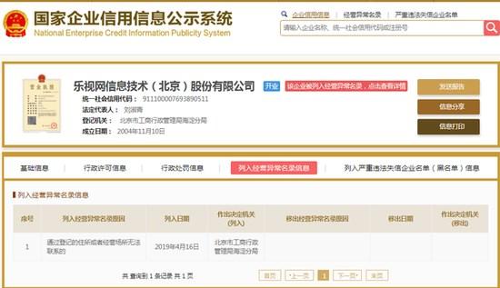 乐视网被列入经营异常名录:登记经营场所无法联系