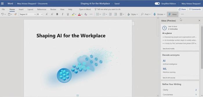 "Word将集成微软的""Ideas"":用AI来辅助写作"